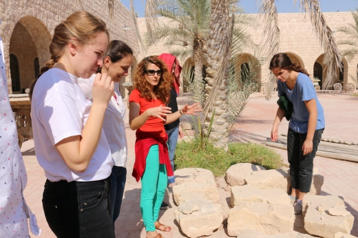 Discussion with conservation students. Sheikh Faisal Museum, Doha, Qatar.