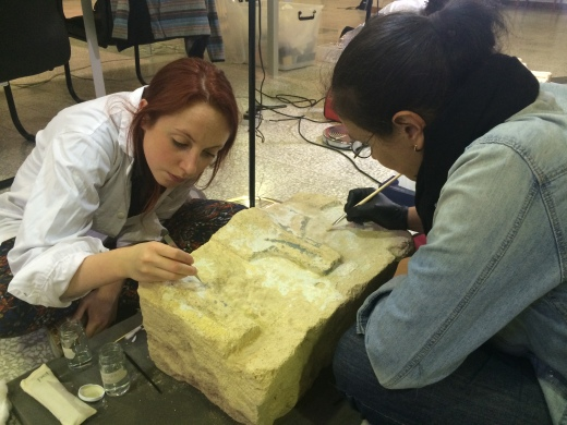 UCL Qatar MSc conservation students working on stone objects from the Sheikh Faisal Museum, Doha, Qatar.