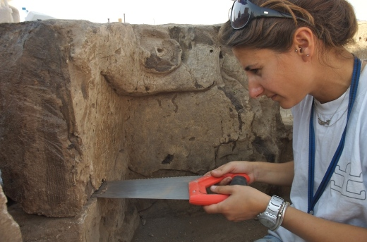 Lifting the plastered bear relief at Catalhoyuk